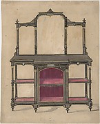 Design for a Cabinet with Shelves and Mirrors