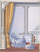 Interior Design for a Gray Curtained Alcove, with an Uphostered Armchair, Ottoman and Cabinet