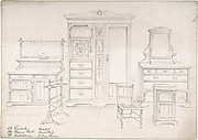 Designs for a Wardrobe, Dressing Chest, Wash Stand, Pedestal, Towel Rail and Cane Chairs