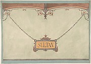 "Design for Decorated ""Sultan"" Plaque for Stable Wall, Hôtel Candamo"