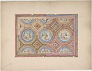 Design for Coffered Ceiling in Four Alternate Color Schemes, Empress Eugenie's Hotel