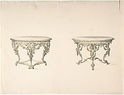 Design for Two Round Tables with Foliate Rococo Style Carving