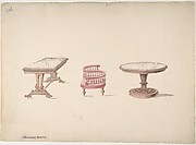Design for a Rectangular and Round Marble-topped Tables and a Tête-à Tête Chair