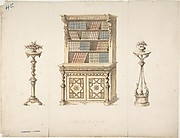 Design for a Cabinet-Bookcase and Two Stands for Flowers