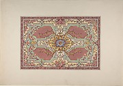 Design for a Painted Ceiling with Strapwork and Foliage on a Rose Background