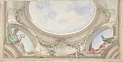 Design for Trompe L'Oeil Ceiling for Dining Room, Hôtel de Trévise