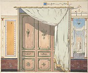 Pompeiian Design for Doorway and Wall with Curtain (possibly for Deepdene Castle)