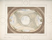 Design for Trompe L'Oeil Ceiling for Dining Room, Hôtel de Trévise