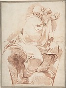 Prophet Seated in Profile on a Cloudbank, Praying: decoration for a spandrel