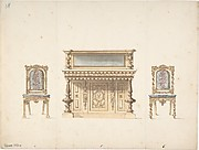 Design for a Mirrored Cabinet and Two Chairs