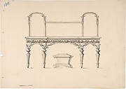 Design for a Sideboard with Mirrors and Shell Ornament, a Casket Below