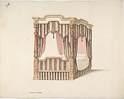 Design for a Four-poster Bed with Pink, Brown and White Draperies