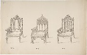 Design for Three Low Gothic or Renaissance Style Arm Chairs