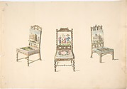 Design for Three Chairs with Pictorial Upholstery