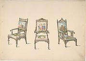 Design for Three Armchairs with Pictorial Upholstery