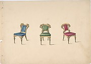 Design for Three Chairs with Blue, Green and Red Upholstery