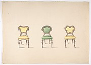 Design for Three Chairs Upholstered in Green and Yellow