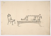 Design for a One-armed Gothic Style Sofa and Chair