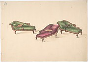 Design for Three Reclined Reading Sofas with Trays, on Casters, Upholstered in Green and Red