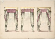 Design for Gray Curtains with Pink Fringes, and White and Gold Pediments