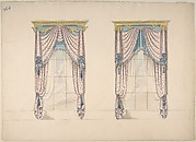 Design for Pink, White and Blue Curtains with Blue Fringes, and Gold and Blue Pediments