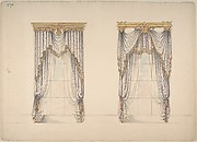 Design for Pink, Green and White Curtains with Gold and Red Fringes, and Gold Pediments