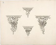 Design for Four Brackets with Foliate and Rocaille Ornament