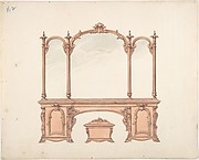 Design for a Mirrored Sideboard with Rococo Ornament, and Casket
