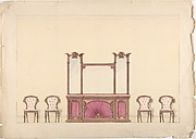 Design for a Mirrored Cabinet and Four Chairs