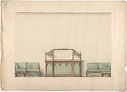 Design for a Mirrored, Marble-topped Cabinet and Two Sofas