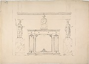 Design for a Cabinet with Inset Fabric Panels, and Two Female Classical Statues on Marble Pedestals
