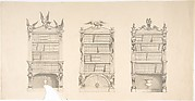 Design for Three Bookcabinets Two Adorned with Eagles and Snakes, the other with Masks, Flames and Grotesques