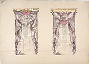 Design for Curtains with Purple, White and Mink Fabric, Purple Fringes and Gold and White Pediments