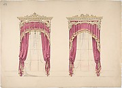 Design for Red Curtains with Gold Fringes and a Gold and White Pediment