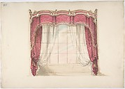 Design for Red Curtains with Gold Fringes and a Gold, Red and White Pediment