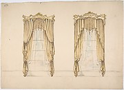 Design for Gold Curtains with Gold Fringes and a Gold and White Pediment
