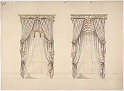 Design for Pink, Green and White Curtains with Pink and Gold Fringes and a Gold and White Pediment