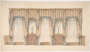 Design for Pink, Gold, Blue and White Curtains with Blue Fringes and a Gold and Wood Pediment