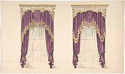 Design for Purple Curtains with Gold Fringes and a Gold and White Pediment