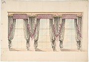 Design for Gray and Pink Curtains with Pink Fringes and a PInk and Gold Pediment