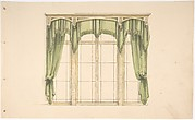 Design for Green Curtains with Green Fringes and a Gold Pediment