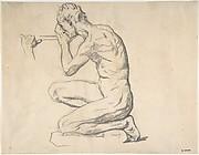Kneeling Nude Male Figure, Facing Left