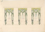 Design for Green and White Curtains with Green Fringes and a Green and Gold Pediment
