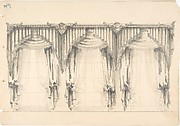 Design for Fringed, Pelmeted Curtains Hanging at Three Widows
