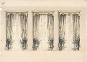 Design for Three Sets of Gray Curtains , with Gray and Gold Pediments
