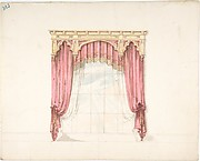 Design for Red Curtains with Gold Fringes and a Gold Gothic Pediment
