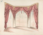 Design for Red Curtains with Red Fringes and a Gold Pediment