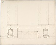 Elevation of a Wall with Marble Pilasters, a Draped Table and Two Armchairs with Footstools