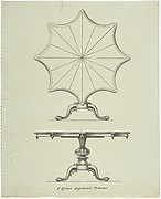 Design for a Star-shaped Tilting Pedestal Table: Two Views