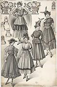 Designs for Five Women's Full-skirted Dresses